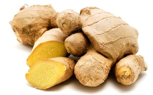 BA6P74 Ginger Zingiber officinale on a white background